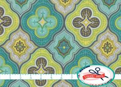 MOROCCAN FABRIC by the YARD, FAT QUARTER, OR HALF YARD - You Choose - AQUA LIME & GRAY GEOMETRIC Fabric - More yardage usually available by using the