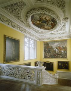 View from the top landing of the Great Staircase at Sudbury Hall
