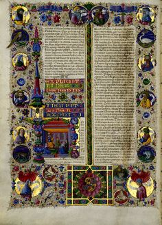 Taddeo Crivelli - Bible of Borso d'Este - 1455-61 --------- From website: The illuminations are by a team of artists led by Taddeo Crivelli and Franco dei Russi that also included Girolamo da Cremona, Marco dell'Avogadro, and Giorgio d'Alemagna. The text was written in a fine Renaissance hand by the Bolognese scribe Pietro Paolo Marone. [...]