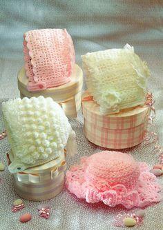 four designs baby bonnets hats vintage crochet pattern on Etsy Crochet Baby Hat Patterns, Crochet Baby Hats, Baby Patterns, Knitting Patterns, Double Knitting, Hand Knitting, Knitting Wool, Wool Yarn, Bobble Stitch