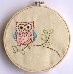Kids owl beginner embroidery sewing craft kit by Gurley Girl Boutique #owlart #owlembroidery
