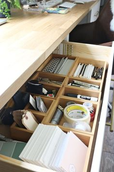 Organization made easy in the studio desk drawers One of the reasons I went with three dressers as the base of the desk in the studio was for the ample storage the nine drawers would provide. My mom has a great desk setup in her house using filing… Office Drawer Organization, Office Storage, Organization Quotes, Studio Organization, Corner Storage, Desk Storage, Craft Storage, Storage Ideas, Bureau Design