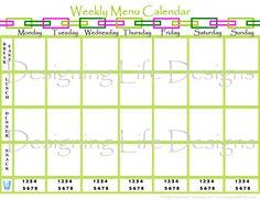Weekly Menu Planning Calendar - Kitchen Printable PDF