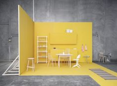 Love the bright yellow gainst the concrete gray. || HAY danish furniture company via design for mankind