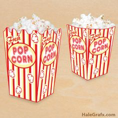 Click here to download FREE Printable Popcorn Boxes!