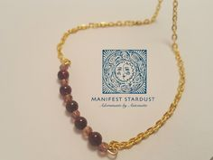 Garnet Bar - Garnet round stones on gold plate. Shimmer starling! Jewelry for every day :)