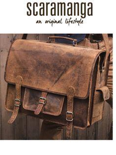 2aa3cd2812 Scaramanga Mens Vintage Leather Overlander Large Satchel Style