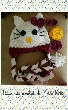 Touca em crochet da Hello Kitty