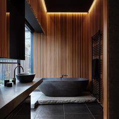 "3,908 Likes, 20 Comments - artsn goods  NYC (@artsn_) on Instagram: ""wood + black - I love it  #artsn #bathroomgoals #architecture #interiordesign"""