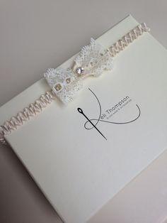 Ivory lace diamanté bow garter. #kelithompson #garter #wedding #handmade