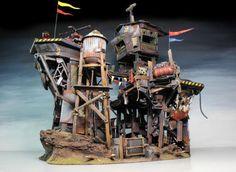 Warhammer Terrain, 40k Terrain, Wargaming Terrain, Building Concept, Building Design, Fallout 4 Settlement Ideas, Post Apocalyptic City, Arte Steampunk, Orks 40k