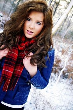Curly Brown Hair, Winter Plaid Details~