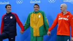 Joint silver medalists, from left, Michael Phelps, Chad le Clos of South Africa…