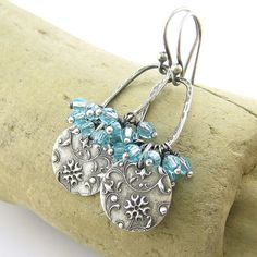 Turquoise Crystal Earrings Turquoise Jewelry by JenniferCasady, $49.00