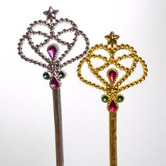 Your Princess Will Live Happily Ever After.  Make all of her princess visions come true with Jeweled Princess Wands!  These wands make perfect birthday party gifts, favors, and costume accessories for all of your favorite little fairies and princesses!  12 royal wands per package.  Silver and gold play wands in every package.  Individually wrapped wands are approximately 33 x 15½3.  Made of plastic.  Whether you are looking for party supplies or family fun, stock up on princess favors…