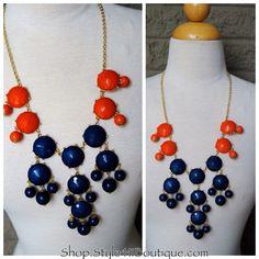 Orange and Navy Bubble Necklace Set $26 Auburn or Florida Shop.style411boutique.com