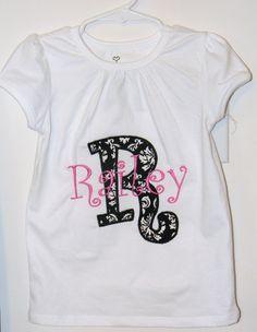 Girls initial applique shirt in damask print