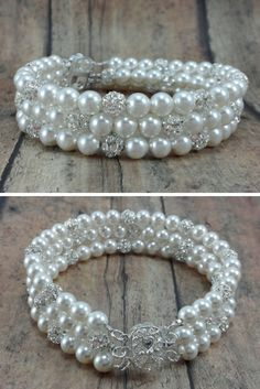 Jackie bracelet: Three strand pearl and rhinestone bridal bracelet // Cuff bracelet // Bride Jewelry // Click now to buy