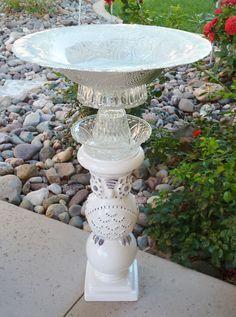 Handmade Vintage Garden Glass Birdbath from repurposed dishes