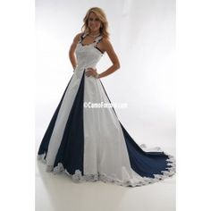 Satin and Denim with Lace Insert.  A-line Halter Wedding Dress with Camo Godets and Cathedral Train.Lace applique on front bodice and halter strapsSizes 2-30.Pictured in White Satin and DenimAvailable in many satin colors and all camo patterns and DenimMade in the USA. Camo Wedding Outdoor Weddings Country Hunters Denim