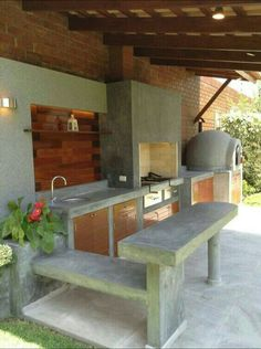 Concrete outdoor kitchen with concrete floor, built-in concrete oven, grill area, ledge and bar table. Wood for cabinet doors, shelves & ceiling. Outdoor Kitchen Bars, Backyard Kitchen, Outdoor Kitchen Design, Backyard Bbq, Dirty Kitchen Design, Outdoor Rooms, Outdoor Living, Outdoor Decor, Parrilla Exterior