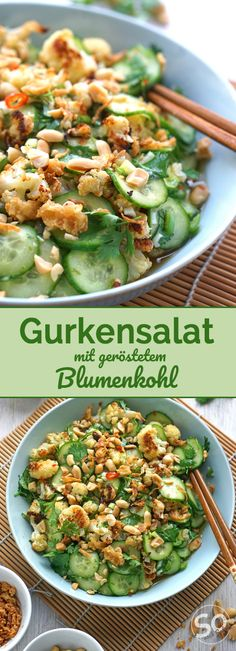 Asia-Gurkensalat mit Röst-Blumenkohl Low carb and delicious for hot days: Asian cucumber salad with peanuts and coriander and roasted cauliflower. Goes quickly and is simply awesome! carb recipes for dinner Salad Recipes Healthy Lunch, Salad Recipes For Dinner, Chicken Salad Recipes, Healthy Eating Tips, Seafood Recipes, Beef Recipes, Vegetarian Recipes, Salads For A Crowd, Easy Salads