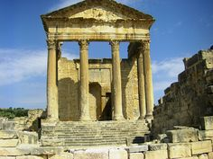 Dougga, Tunisia by ajhammu0, via Flickr  ~ Roman ruins of a city believed to have been founded in the 6th century BC ~ UNESCO World Heritage Site since 1997