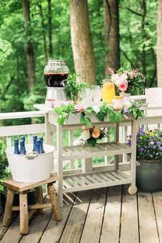 white wood outdoor bar cart!