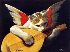 "Melinda Copper has painted the GIZMO ANGEL. This print showcases her talent for animal art as a cat with angel wings plays the mandolin. It's available for purchase in an unframed image size of 12""x9""                                                                                                                                                      More"
