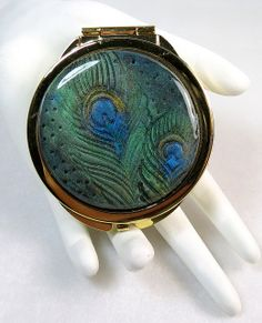Handmade OOAK Peacock Polymer Clay Covered Compact Mirror - 2 sides | Flickr - Photo Sharing!