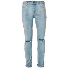 TOPMAN Light Wash Blue Ripped Stretch Skinny Jeans ($49) ❤ liked on Polyvore featuring men's fashion, men's clothing, men's jeans, pants, blue, mens distressed jeans, mens blue jeans, mens stretchy jeans, mens destroyed jeans and mens button fly jeans