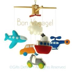 Musical Baby Mobile BON VOYAGE by Land, Air, Sea (Artist Choice Color) -  Hanging Crib Mobile for Modern Transportation Theme Nursery Decor via Etsy
