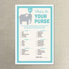 Instant Download - Elephant Baby Shower What's In Your Purse Game - Twin, Neutral, Boy, Girl Baby Shower - What's In Your Purse Game on Etsy, $5.00