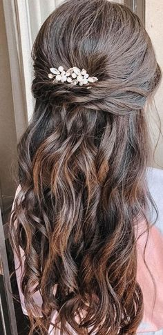 Glam Half up The perfect glam looks for brunette long hair. The half up hair has been styled in wispy and romantic waves. A style... #nails #nailart #gelnails Bridesmaid Hair Half Up Braid, Bridesmaid Hair Brunette, Bridesmaid Hairstyles Half Up Half Down, Half Up Wedding Hair, Half Up Half Down Hair Prom, Long Hair Wedding Styles, Wedding Hairstyles For Long Hair, Long Hair Styles, Hairstyles For Weddings Bridesmaid