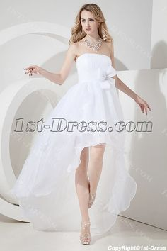 Strapless High-low Beach Wedding Dress Casual:1st-dress.com