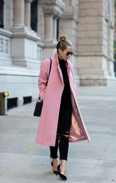 Classic Pink Long Coat With Contrasting Ankle Length Skinny Jeans