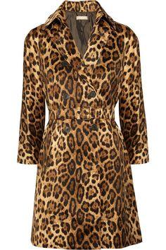 Michael Kors Animal-print cotton-sateen coat
