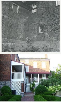 Before and after restoration of the back porch, Mary Todd Lincoln House, Lexington, Kentucky