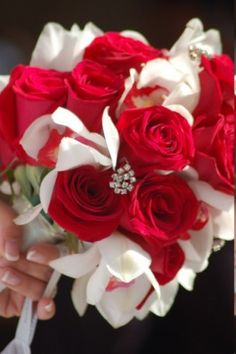 Red and White Rose Wedding Flower Bouquet with Rhinestone Jewels