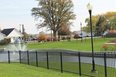 Pond looking toward South entrance of main church building.