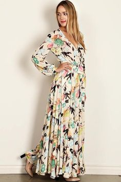 2375c80630f0 The Avalon is a stunning Long Sleeve Floral Print Wrap (nursing friendly)  Maxi Dress