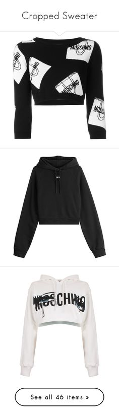 """""""Cropped Sweater"""" by minleepam ❤ liked on Polyvore featuring tops, sweaters, crop tops, moschino, t-shirts, black, three quarter sleeve sweater, rib crop top, 3/4 sleeve tops and round neck sweater"""