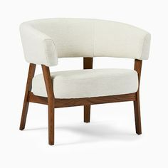 A wraparound back gives modern definition to our Juno Chair, providing extra comfort in tandem with its cushy seat. Its handsome exposed wood frame is kiln-dried for added strength and meets contract-grade standards. Small Furniture, Modern Furniture, Furniture Sets, Living Room Chairs, Living Room Furniture, Living Rooms, Mid Century Chair, Exposed Wood, Upholstered Chairs