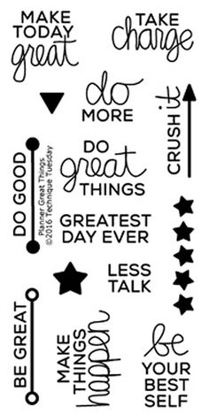 """TECHNIQUE TUESDAY: Planner Great Things (2"""" x 4"""" Clear Photopolymer Stamp Set) This clear photopolymer stamp set is perfect for planners, calendars, reminders, pocket scrapbooks and cards. Set measure"""