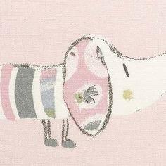 841824 bomull lyserød m hunder Kajas rom