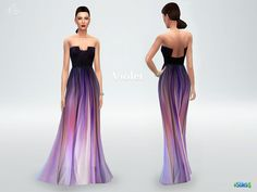This romantic silk ombre gown 'Violet' should give your sims blissful fashion fantasies for a week, at least!  Found in TSR Category 'Sims 4 Female Formal'
