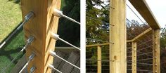 You must terminate the wire rope balustrade at each side of a corner post Wire Balustrade, Cable Railing Systems, House Cladding, Deck Railings, Cable Wire, Stainless Steel Wire, Wood Turning, Corner, Decking Ideas