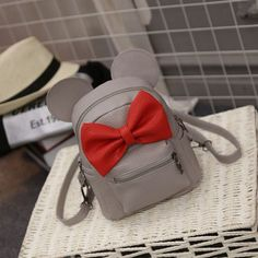 2016 new Baby girls kids backpack Cartoon cute butterfly knot Minnie backpack princess Mini Bag bow mouse ears black pink gray