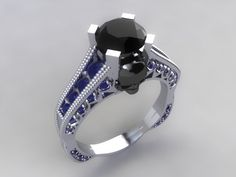 Skull Engagement Ring- Solid Slver with 1.25 ct Round Black Center-UDINC0323 by UntilDeathInc.com