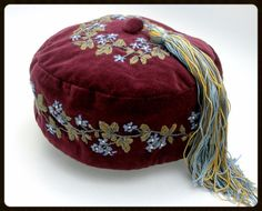 Victorial Style Handmade Embroidered Velvet Smoking Cap with Tassel This smoking cap is completely hand embroidered and made with luxury cotton